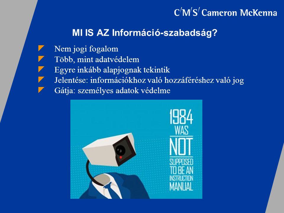 MI IS AZ Információ-szabadság?  Nem jogi fogalom  Több, mint adatvédelem  Egyre inkább alapjognak tekintik  Jelentése: információkhoz való hozzáfé