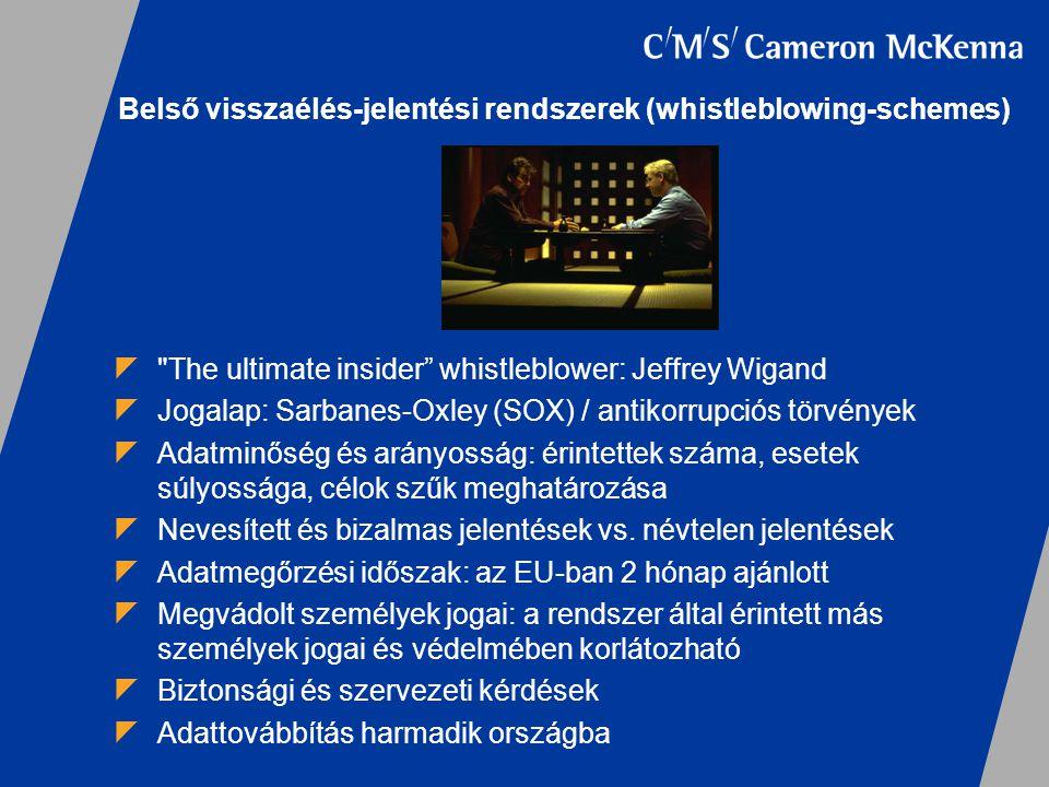Belső visszaélés-jelentési rendszerek (whistleblowing-schemes) 