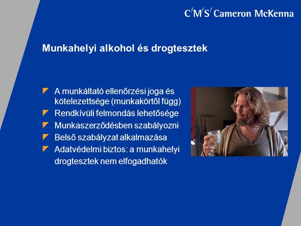  A munkáltató ellenőrzési joga és kötelezettsége (munkakörtől függ)  Rendkívüli felmondás lehetősége  Munkaszerződésben szabályozni  Belső szabály