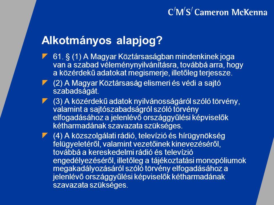 Alkotmányos alapjog?  61. § (1) A Magyar Köztársaságban mindenkinek joga van a szabad véleménynyilvánításra, továbbá arra, hogy a közérdekű adatokat