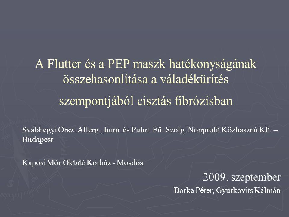 A Flutter és a PEP maszk hatékonyságának összehasonlítása a váladékürítés szempontjából cisztás fibrózisban Svábhegyi Orsz. Allerg., Imm. és Pulm. Eü.