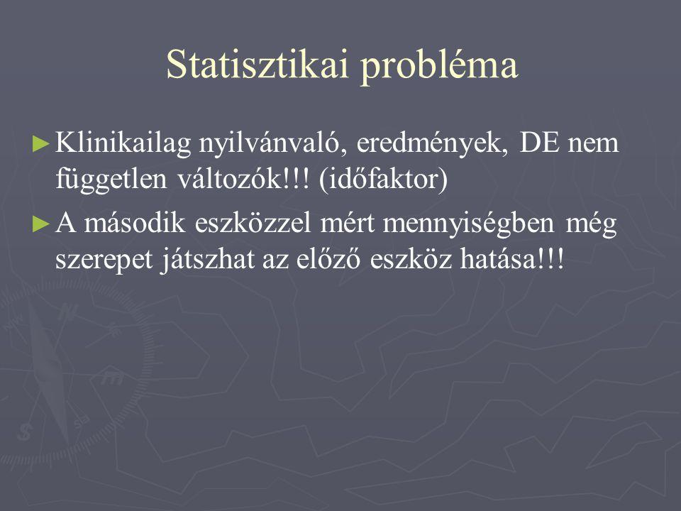 Statisztikai probléma ► ► Klinikailag nyilvánvaló, eredmények, DE nem független változók!!! (időfaktor) ► ► A második eszközzel mért mennyiségben még