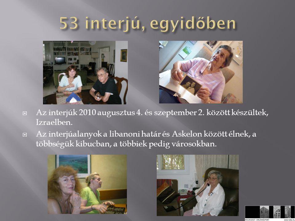  Az interjúk 2010 augusztus 4. és szeptember 2. között készültek, Izraelben.