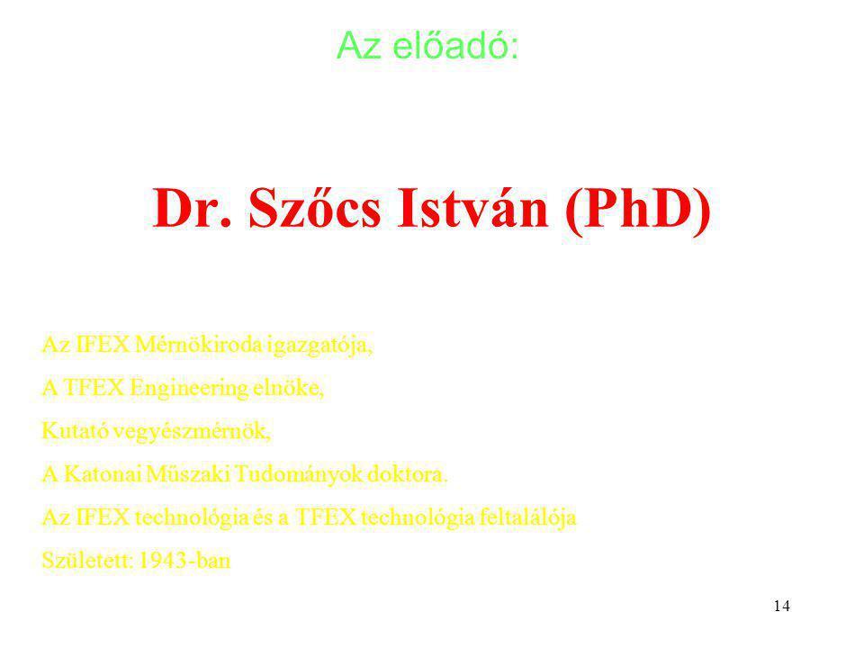 14 Dr. Szőcs István (PhD) Az előadó: Szőcs István: Környezetkímélő technológiák kutatás-fejlesztése tartálytüzek oltására. Az IFEX Mérnökiroda igazgat