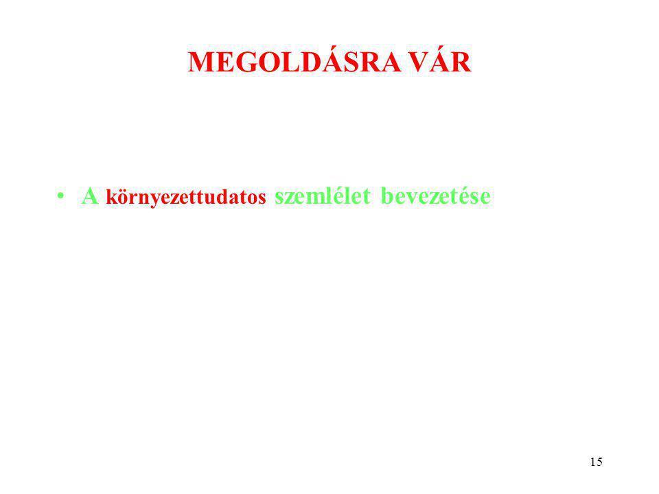 15 MEGOLDÁSRA VÁR •A környezettudatos szemlélet bevezetése Szőcs István: Környezetkímélő technológiák kutatás-fejlesztése tartálytüzek oltására.
