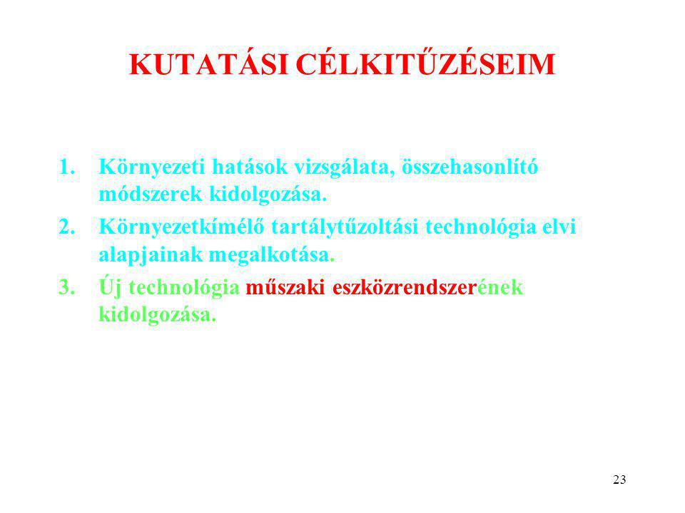 23 KUTATÁSI CÉLKITŰZÉSEIM 1.Környezeti hatások vizsgálata, összehasonlító módszerek kidolgozása. 2.Környezetkímélő tartálytűzoltási technológia elvi a