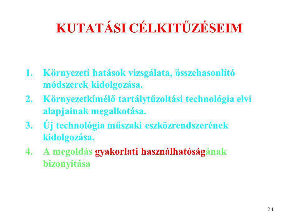 24 KUTATÁSI CÉLKITŰZÉSEIM 1.Környezeti hatások vizsgálata, összehasonlító módszerek kidolgozása. 2.Környezetkímélő tartálytűzoltási technológia elvi a