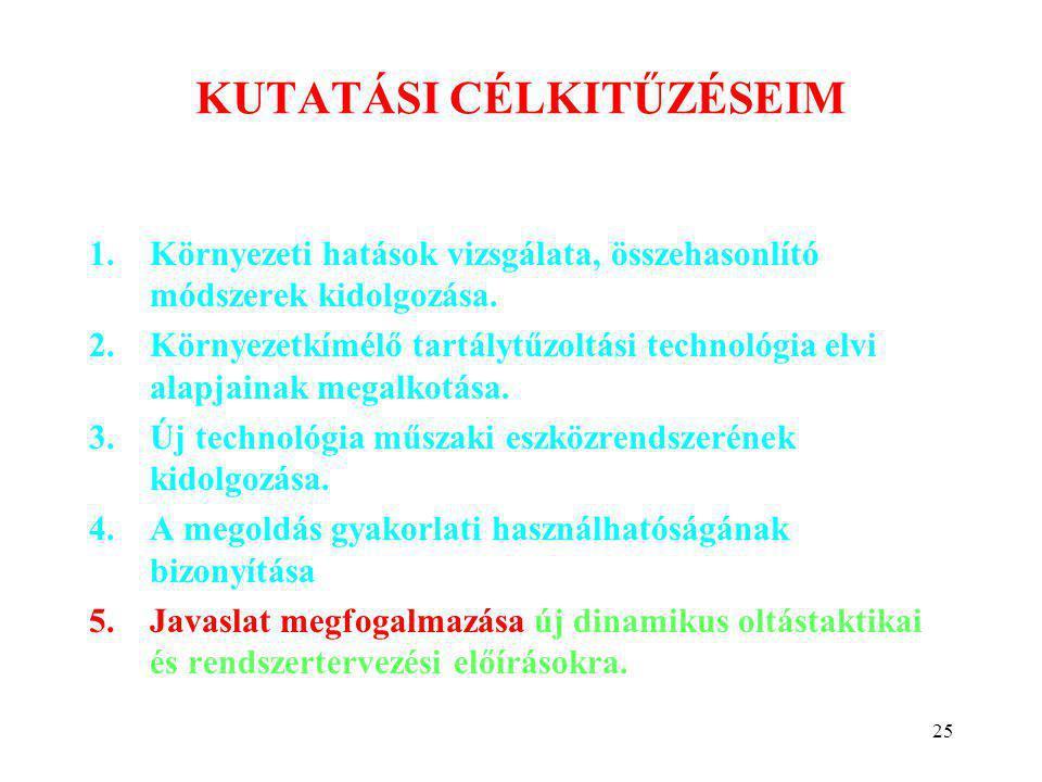 25 KUTATÁSI CÉLKITŰZÉSEIM 1.Környezeti hatások vizsgálata, összehasonlító módszerek kidolgozása. 2.Környezetkímélő tartálytűzoltási technológia elvi a