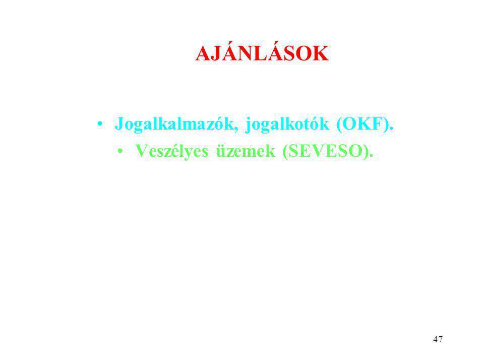47 AJÁNLÁSOK •Jogalkalmazók, jogalkotók (OKF). •Veszélyes üzemek (SEVESO).