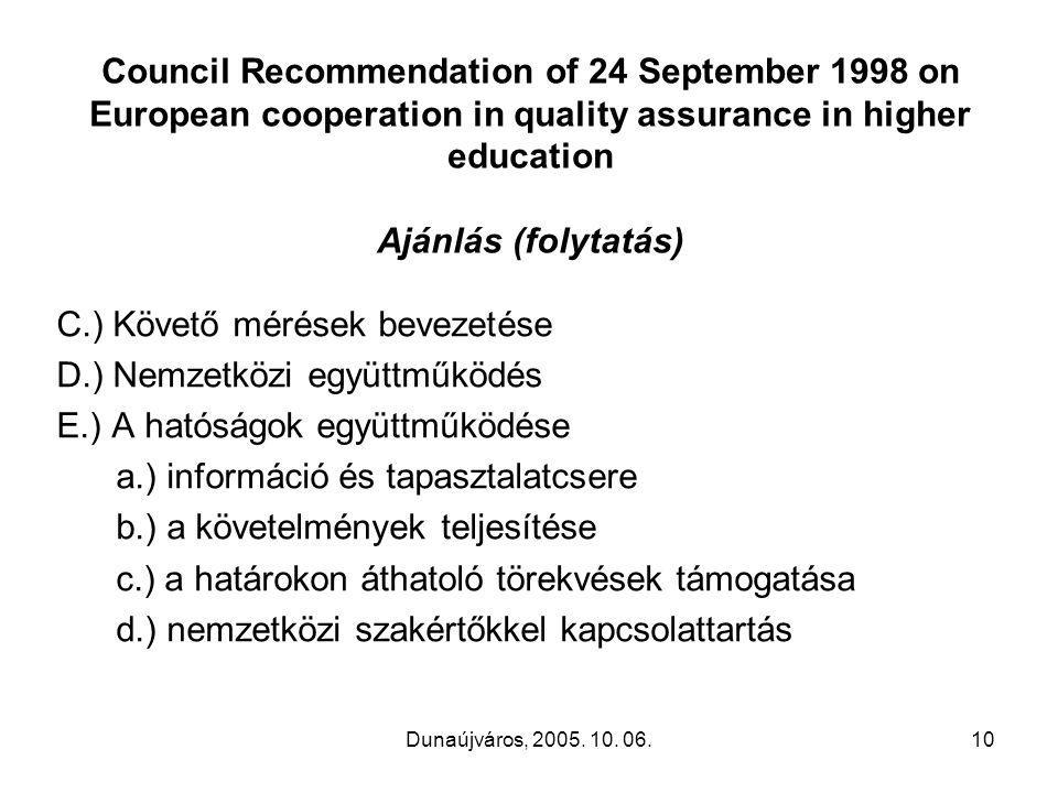 Dunaújváros, 2005. 10. 06.10 Council Recommendation of 24 September 1998 on European cooperation in quality assurance in higher education Ajánlás (fol