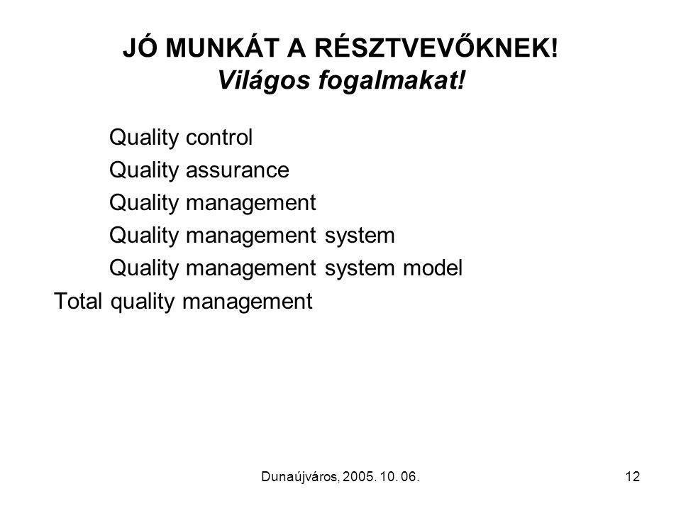 Dunaújváros, 2005. 10. 06.12 JÓ MUNKÁT A RÉSZTVEVŐKNEK.