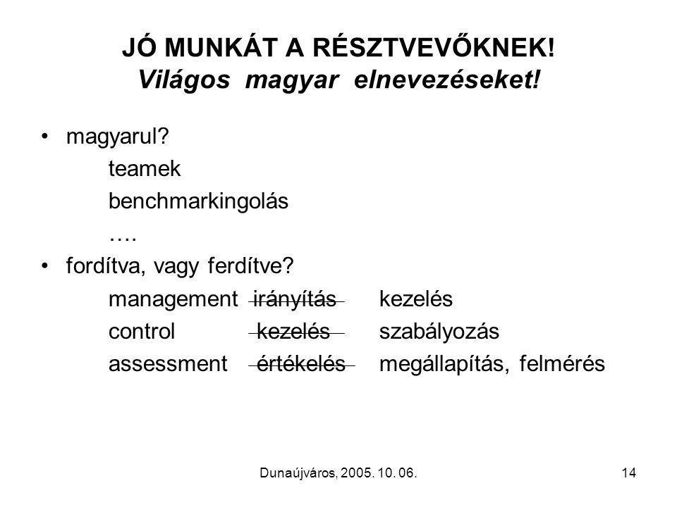 Dunaújváros, 2005. 10. 06.14 JÓ MUNKÁT A RÉSZTVEVŐKNEK.