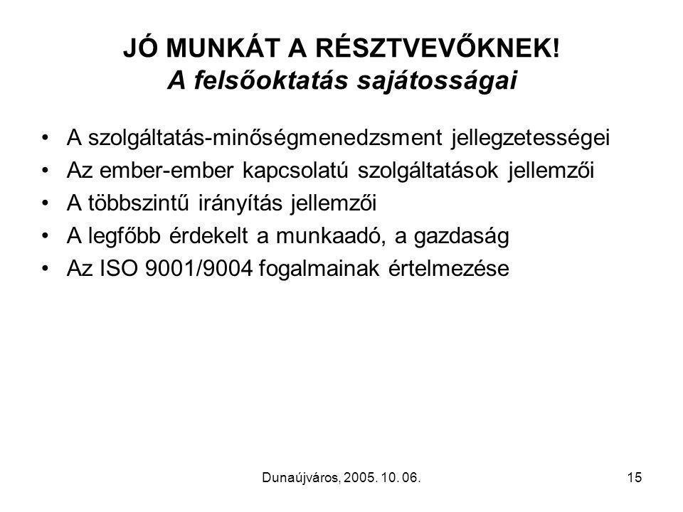 Dunaújváros, 2005. 10. 06.15 JÓ MUNKÁT A RÉSZTVEVŐKNEK.