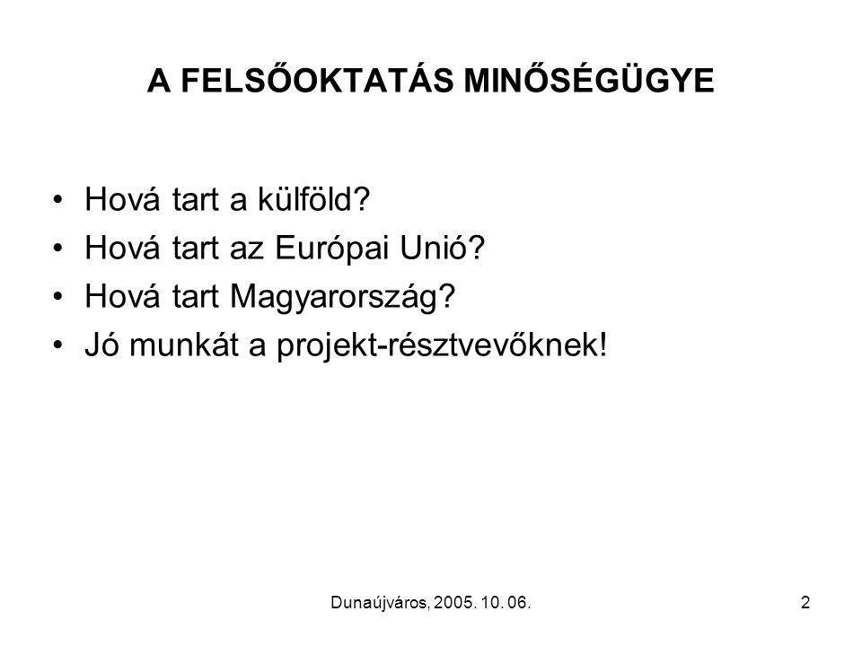 Dunaújváros, 2005. 10. 06.2 A FELSŐOKTATÁS MINŐSÉGÜGYE •Hová tart a külföld.