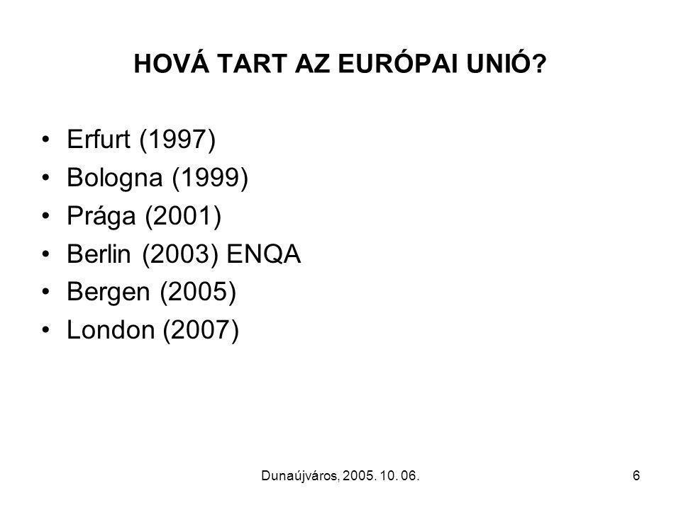Dunaújváros, 2005. 10. 06.6 HOVÁ TART AZ EURÓPAI UNIÓ.
