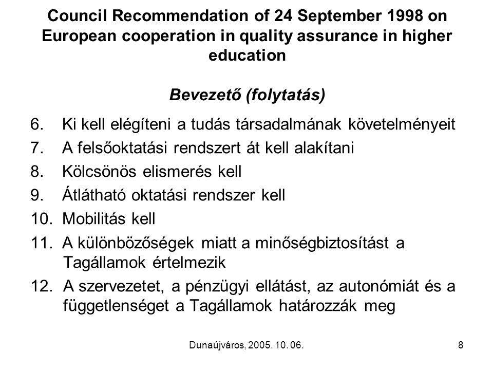 Dunaújváros, 2005. 10. 06.8 Council Recommendation of 24 September 1998 on European cooperation in quality assurance in higher education Bevezető (fol