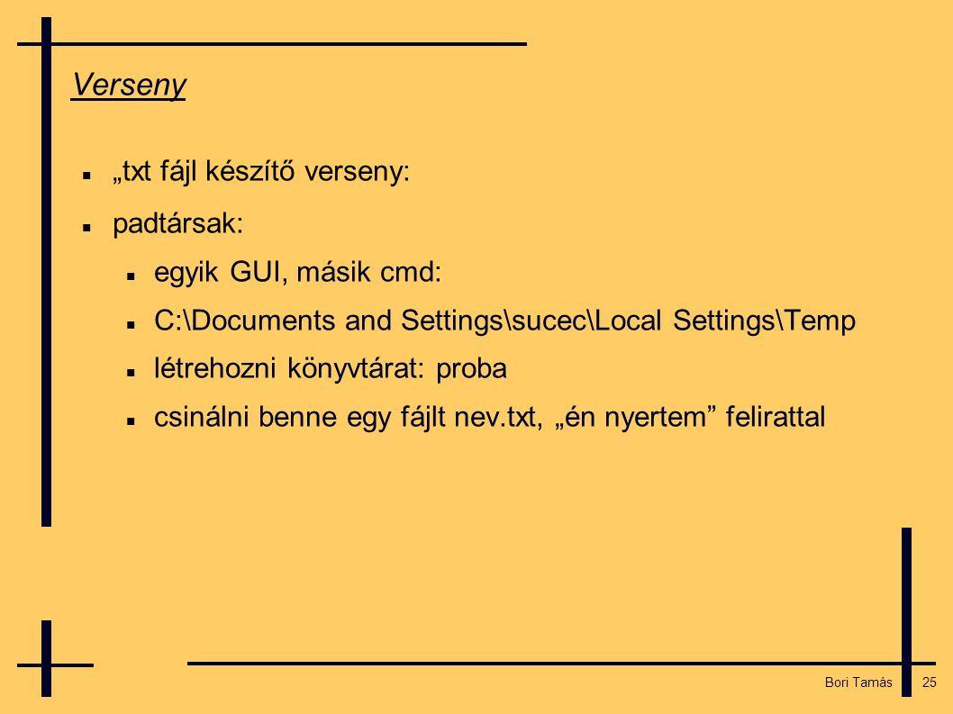 """25 Bori Tamás Verseny  """"txt fájl készítő verseny:  padtársak:  egyik GUI, másik cmd:  C:\Documents and Settings\sucec\Local Settings\Temp  létrehozni könyvtárat: proba  csinálni benne egy fájlt nev.txt, """"én nyertem felirattal"""