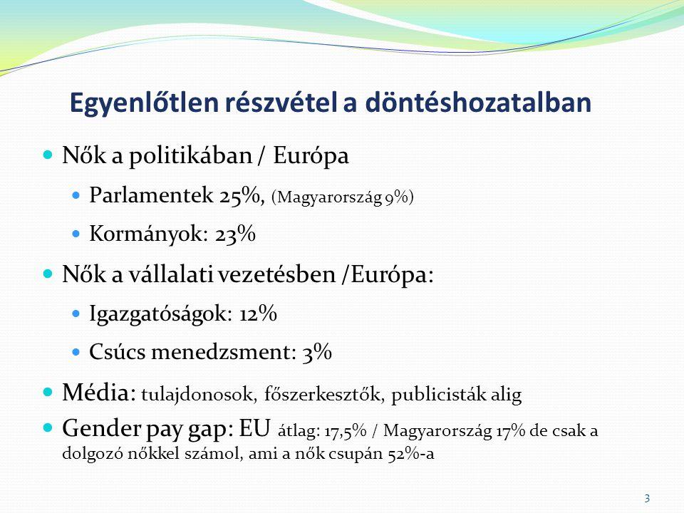 Egyenlőtlen részvétel a döntéshozatalban  Nők a politikában / Európa  Parlamentek 25%, (Magyarország 9%)  Kormányok: 23%  Nők a vállalati vezetésben /Európa:  Igazgatóságok: 12%  Csúcs menedzsment: 3%  Média: tulajdonosok, főszerkesztők, publicisták alig  Gender pay gap: EU átlag: 17,5% / Magyarország 17% de csak a dolgozó nőkkel számol, ami a nők csupán 52%-a 3