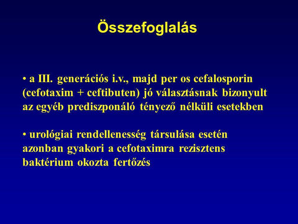 Összefoglalás • a III. generációs i.v., majd per os cefalosporin (cefotaxim + ceftibuten) jó választásnak bizonyult az egyéb prediszponáló tényező nél