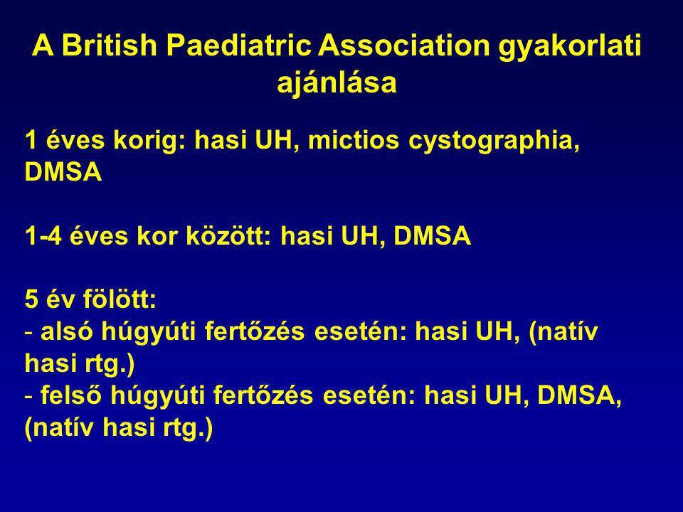 A British Paediatric Association gyakorlati ajánlása 1 éves korig: hasi UH, mictios cystographia, DMSA 1-4 éves kor között: hasi UH, DMSA 5 év fölött: - alsó húgyúti fertőzés esetén: hasi UH, (natív hasi rtg.) - felső húgyúti fertőzés esetén: hasi UH, DMSA, (natív hasi rtg.)