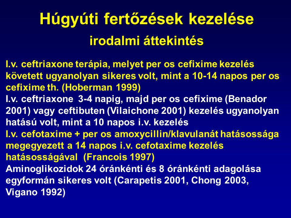 Húgyúti fertőzések kezelése irodalmi áttekintés I.v.