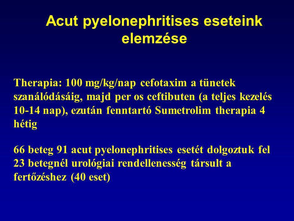 Acut pyelonephritises eseteink elemzése Therapia: 100 mg/kg/nap cefotaxim a tünetek szanálódásáig, majd per os ceftibuten (a teljes kezelés 10-14 nap), ezután fenntartó Sumetrolim therapia 4 hétig 66 beteg 91 acut pyelonephritises esetét dolgoztuk fel 23 betegnél urológiai rendellenesség társult a fertőzéshez (40 eset)