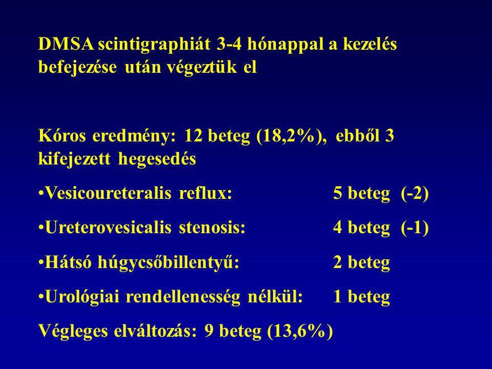 DMSA scintigraphiát 3-4 hónappal a kezelés befejezése után végeztük el Kóros eredmény: 12 beteg (18,2%), ebből 3 kifejezett hegesedés •Vesicoureteralis reflux: 5 beteg (-2) •Ureterovesicalis stenosis:4 beteg (-1) •Hátsó húgycsőbillentyű:2 beteg •Urológiai rendellenesség nélkül:1 beteg Végleges elváltozás: 9 beteg (13,6%)