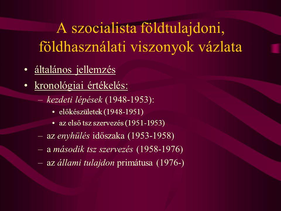 A szocialista földtulajdoni, földhasználati viszonyok vázlata •általános jellemzés •kronológiai értékelés: –kezdeti lépések (1948-1953): •előkészülete