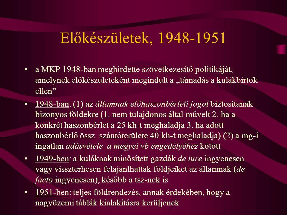 """Előkészületek, 1948-1951 •a MKP 1948-ban meghirdette szövetkezesítő politikáját, amelynek előkészületeként megindult a """"támadás a kulákbirtok ellen"""" •"""
