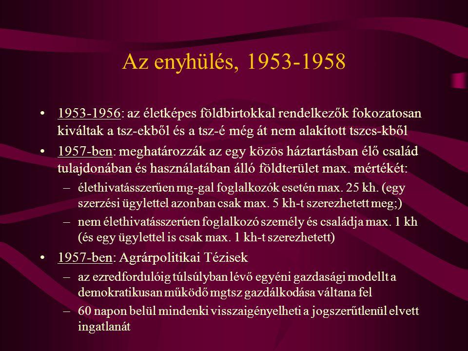 Az enyhülés, 1953-1958 •1953-1956: az életképes földbirtokkal rendelkezők fokozatosan kiváltak a tsz-ekből és a tsz-é még át nem alakított tszcs-kből