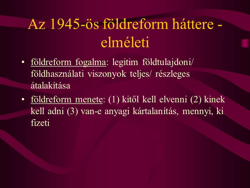Az 1945-ös földreform háttere - elméleti •földreform fogalma: legitim földtulajdoni/ földhasználati viszonyok teljes/ részleges átalakítása •földrefor