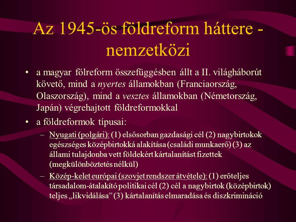 """Az 1945-ös földreform háttere - hazai társadalompolitika •a magyar földreform két koncepció kompromisszuma: –""""kiskert koncepció : (1) középbirtok megtartása; családi birtokrendszer kialakítása a törpebirtokosok földhözjuttatásával (2) az átalakítás módja: állami kártalanítás; csak a háborús bűnösök esetén elkobzás (3) FKgP –radikális koncepció: (1) nagy és középbirtokok teljes felszámolása (2) átalakítás módja: kártalanítás nélkül (3) NPP (földet minden parasztnak), MKP (leninista ideológia-a kollektivizálás első lépése az életképtelen kisbirtokrendszer) •az 1945."""