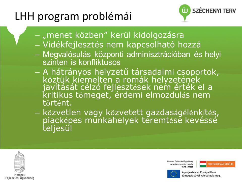 """LHH program problémái – """"menet közben"""" kerül kidolgozásra – Vidékfejlesztés nem kapcsolható hozzá –Megvalósulás központi adminisztrációban és helyi sz"""