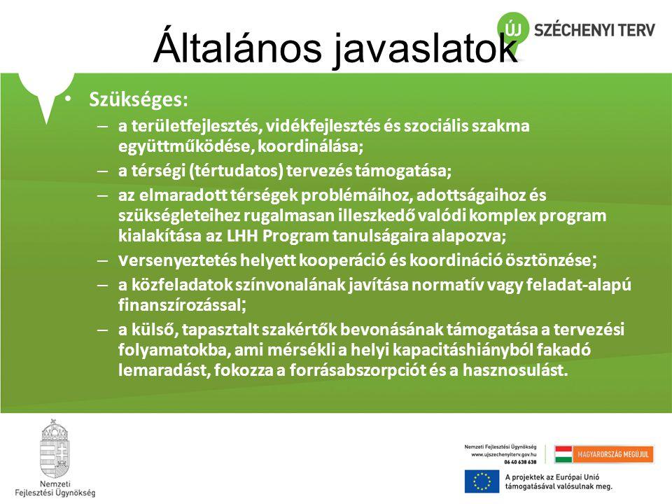 Általános javaslatok • Szükséges: – a területfejlesztés, vidékfejlesztés és szociális szakma együttműködése, koordinálása; – a térségi (tértudatos) te
