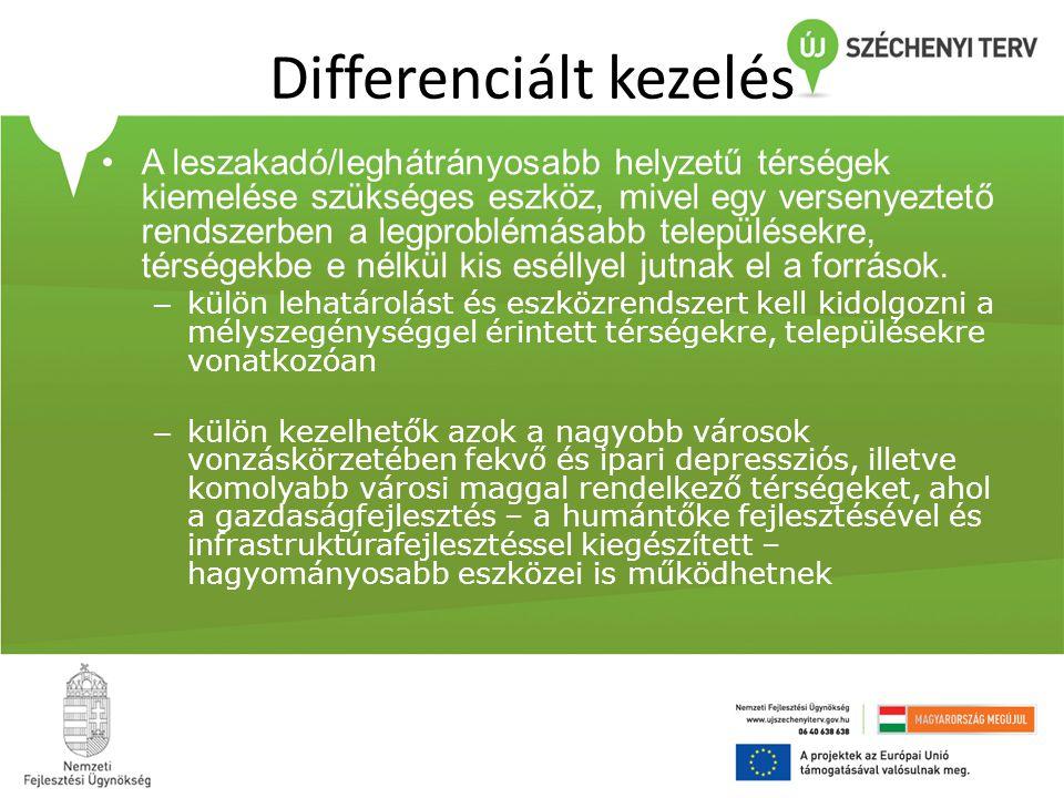 Differenciált kezelés •A leszakadó/leghátrányosabb helyzetű térségek kiemelése szükséges eszköz, mivel egy versenyeztető rendszerben a legproblémásabb