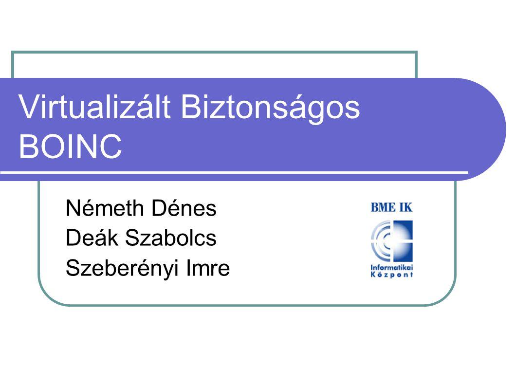 Virtualizált Biztonságos BOINC Németh Dénes Deák Szabolcs Szeberényi Imre