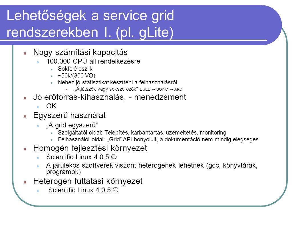 Lehetőségek a service grid rendszerekben I. (pl. gLite)  Nagy számítási kapacitás  100.000 CPU áll rendelkezésre  Sokfelé oszlik  ~50k/(300 VO) 