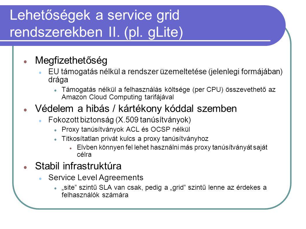 Lehetőségek a service grid rendszerekben II. (pl. gLite)  Megfizethetőség  EU támogatás nélkül a rendszer üzemeltetése (jelenlegi formájában) drága