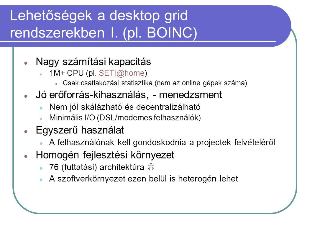 Lehetőségek a desktop grid rendszerekben I. (pl. BOINC)  Nagy számítási kapacitás  1M+ CPU (pl. SETI@home)SETI@home  Csak csatlakozási statisztika