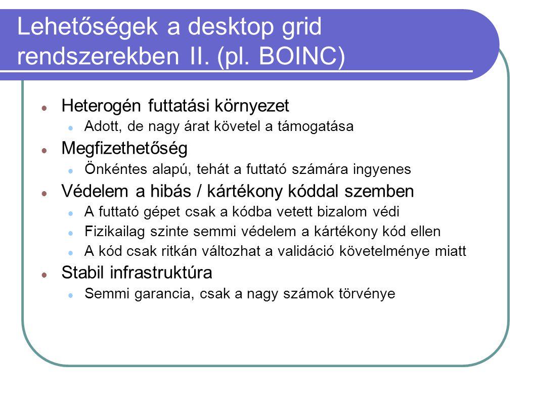 Lehetőségek a desktop grid rendszerekben II. (pl. BOINC)  Heterogén futtatási környezet  Adott, de nagy árat követel a támogatása  Megfizethetőség