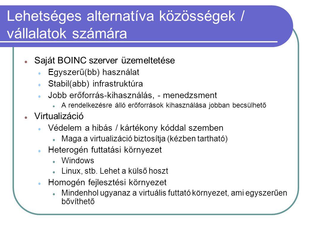 Lehetséges alternatíva közösségek / vállalatok számára  Saját BOINC szerver üzemeltetése  Egyszerű(bb) használat  Stabil(abb) infrastruktúra  Jobb