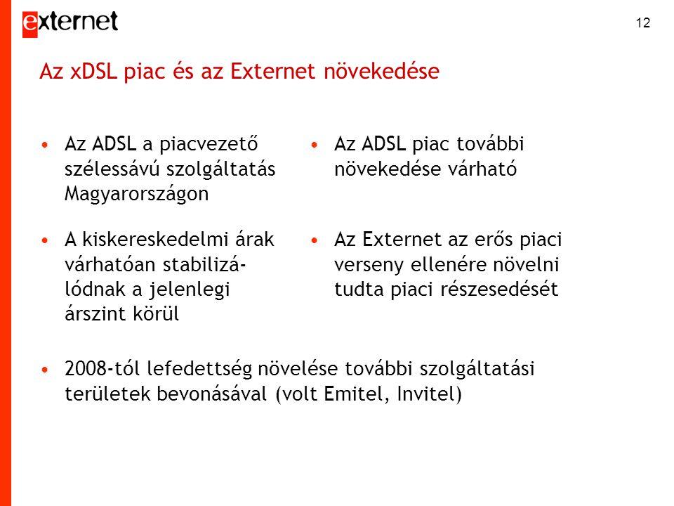12 Az xDSL piac és az Externet növekedése •Az ADSL a piacvezető szélessávú szolgáltatás Magyarországon •Az ADSL piac további növekedése várható •A kis