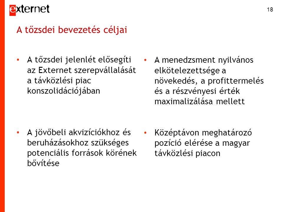 18 A tőzsdei bevezetés céljai • A tőzsdei jelenlét elősegíti az Externet szerepvállalását a távközlési piac konszolidációjában • A jövőbeli akvizíciók