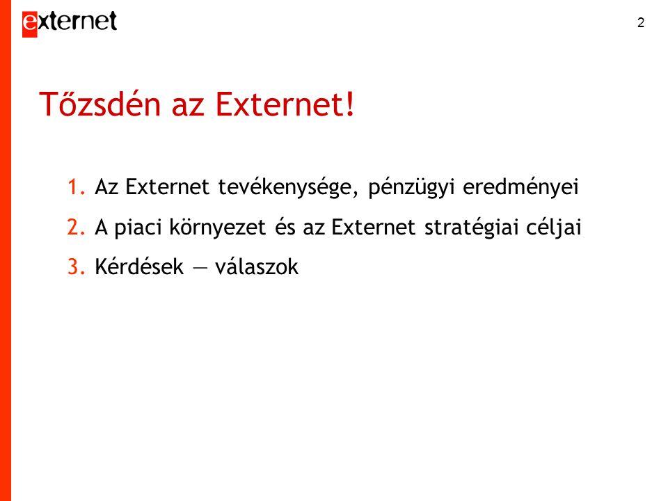 2 T ő zsdén az Externet! 1.Az Externet tevékenysége, pénzügyi eredményei 2.A piaci környezet és az Externet stratégiai céljai 3.Kérdések — válaszok
