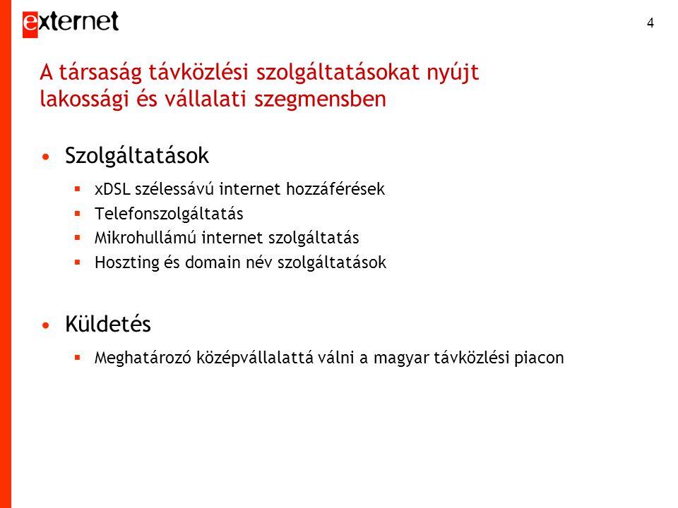 4 •Szolgáltatások  xDSL szélessávú internet hozzáférések  Telefonszolgáltatás  Mikrohullámú internet szolgáltatás  Hoszting és domain név szolgált