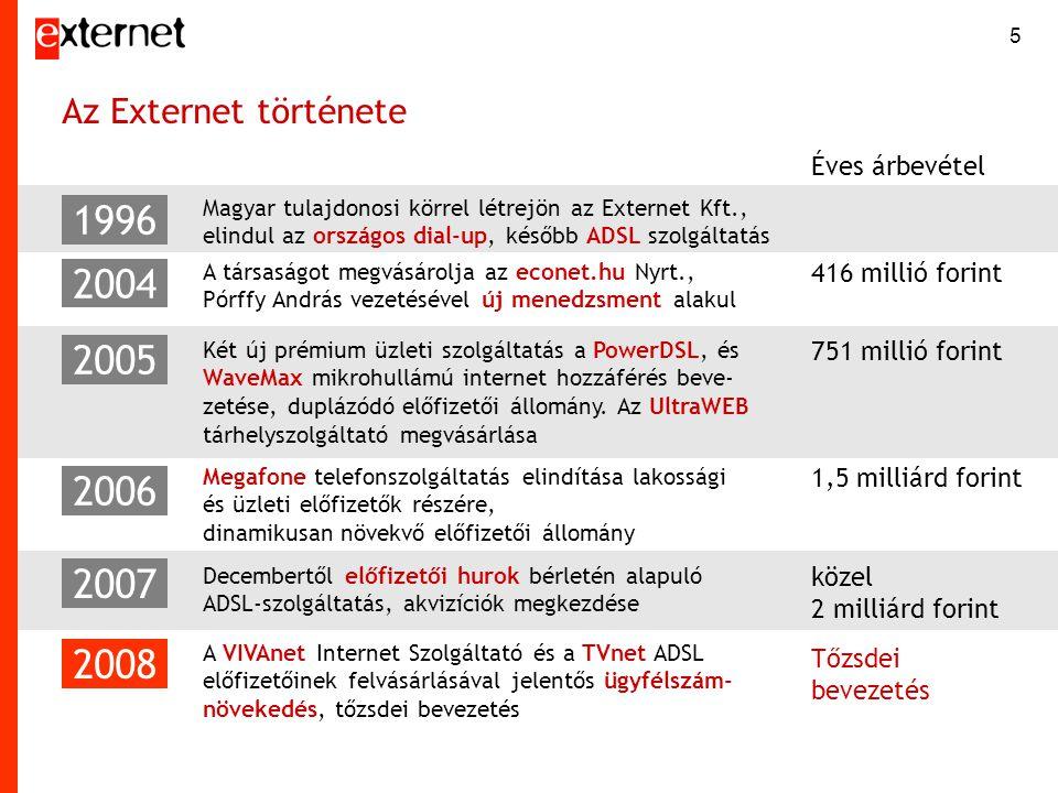 5 Az Externet története Magyar tulajdonosi körrel létrejön az Externet Kft., elindul az országos dial-up, később ADSL szolgáltatás 1996 2004 2005 2006