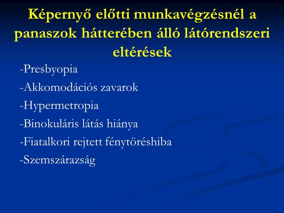 Képernyő előtti munkavégzésnél a panaszok hátterében álló látórendszeri eltérések -Presbyopia -Akkomodációs zavarok -Hypermetropia -Binokuláris látás hiánya -Fiatalkori rejtett fénytöréshiba -Szemszárazság