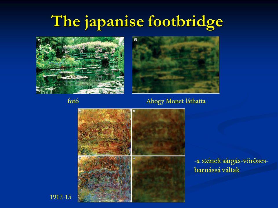 The japanise footbridge -a színek sárgás-vöröses- barnássá váltak 1912-15 fotóAhogy Monet láthatta
