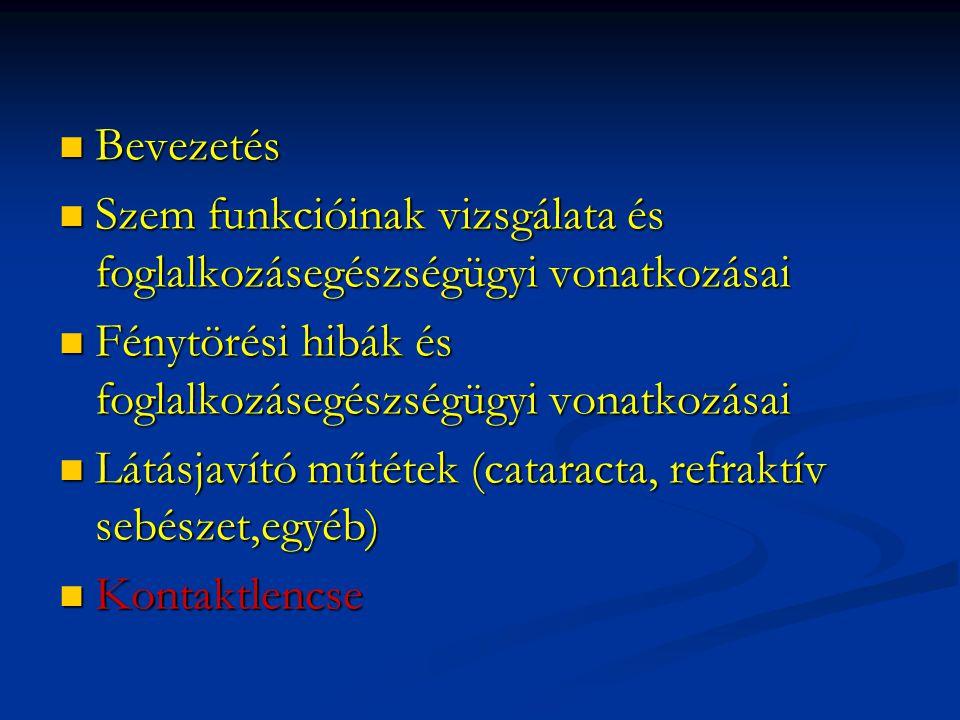  Bevezetés  Szem funkcióinak vizsgálata és foglalkozásegészségügyi vonatkozásai  Fénytörési hibák és foglalkozásegészségügyi vonatkozásai  Látásjavító műtétek (cataracta, refraktív sebészet,egyéb)  Kontaktlencse