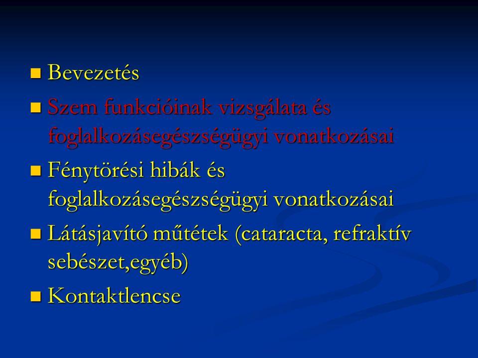  Bevezetés  Szem funkcióinak vizsgálata és foglalkozásegészségügyi vonatkozásai  Fénytörési hibák és foglalkozásegészségügyi vonatkozásai  Látásja